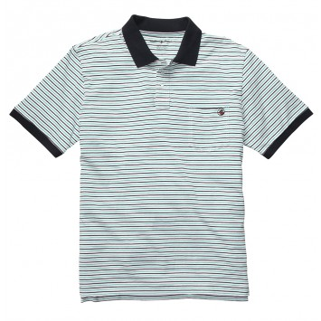Pocket Polo - Green/Navy Stripe
